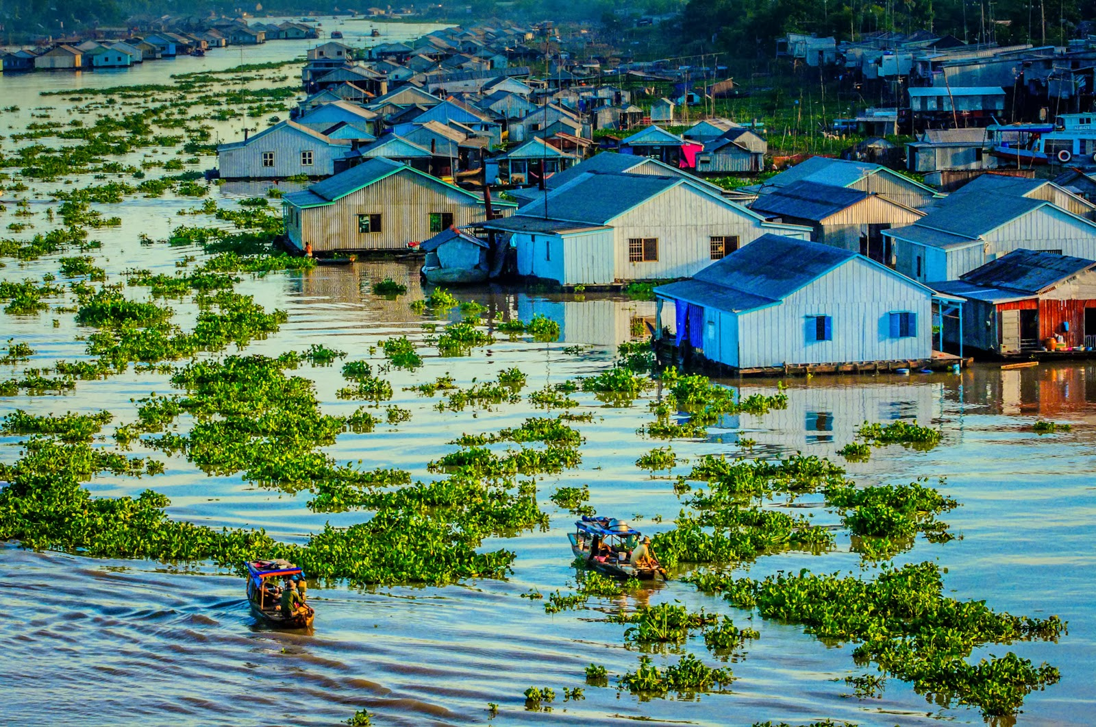 Floating houses in Mekong Delta