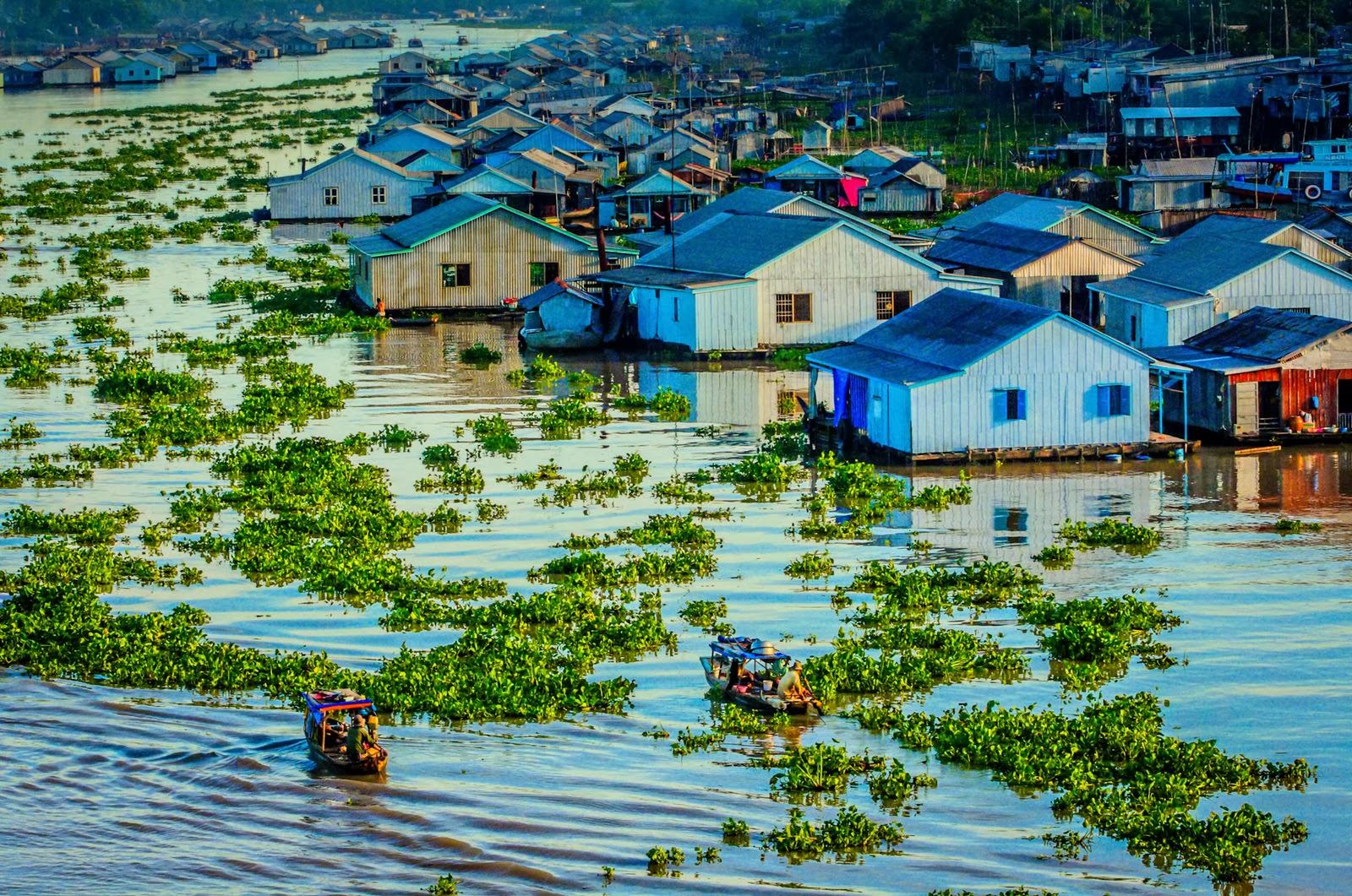 Floating houses in Mekong Delta