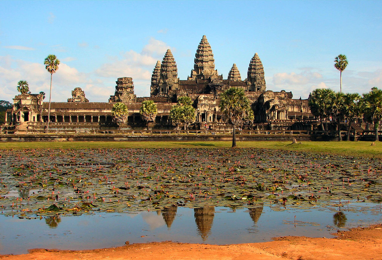 The beauty of Angkor Wat Temple seen from far distance