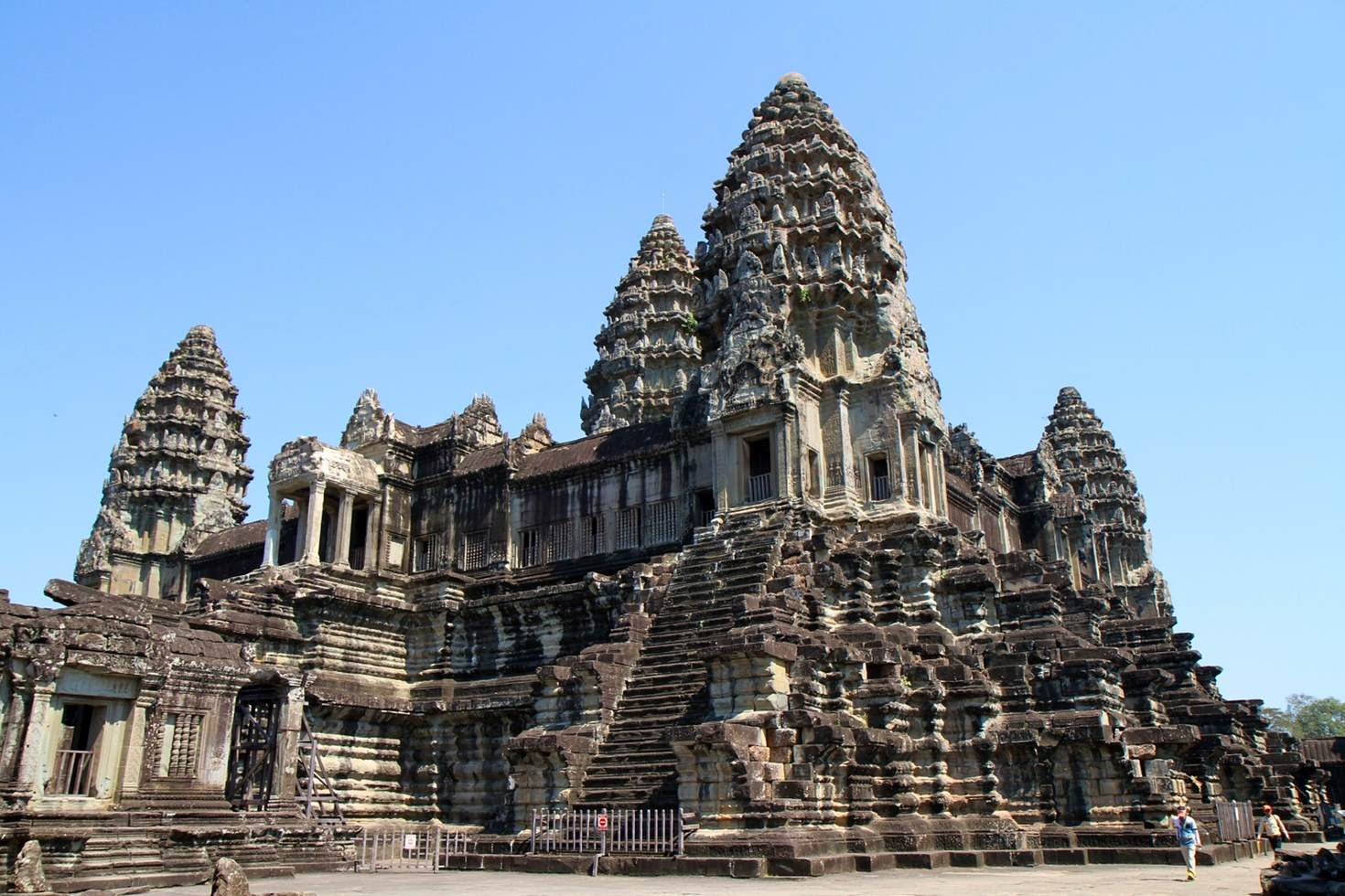 The highest towers which you can see in the third structure in Angkor Wat