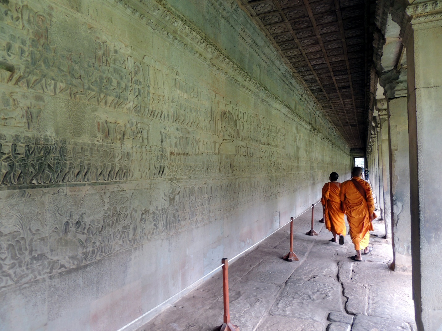 You can see many unique reliefs in the lobby of the first structure in Angkor Wat