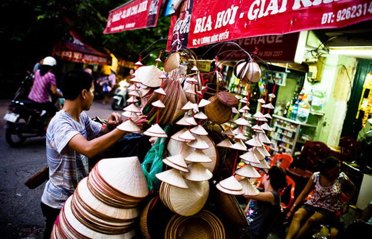 A souvenir vendor in the Old Quarter of Hanoi