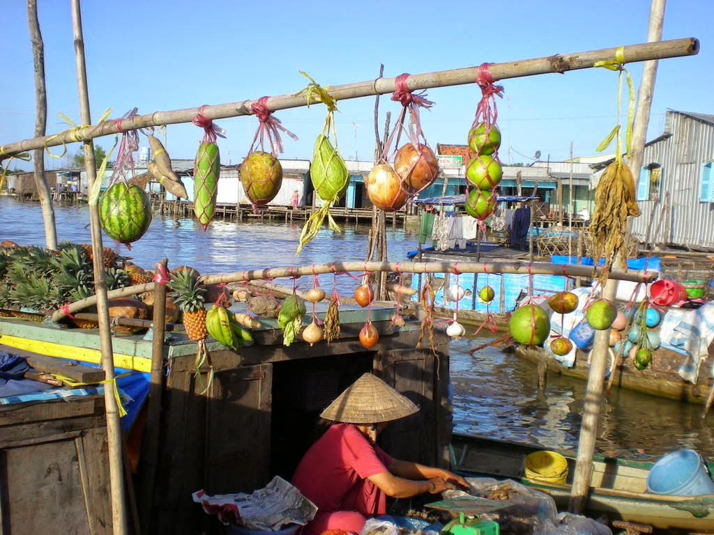 A boat selling vegetable in floating market