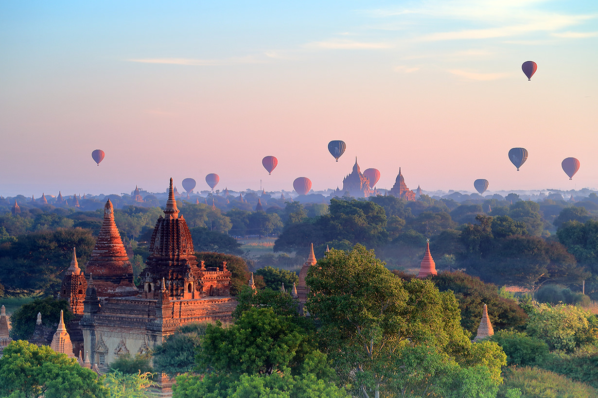 Taking a hot air balloon ride in Bagan