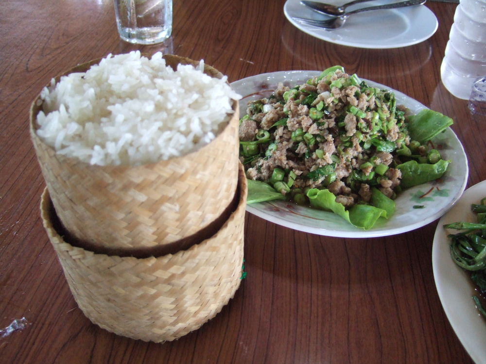 Sticky Rice in everyday meal of Laotians