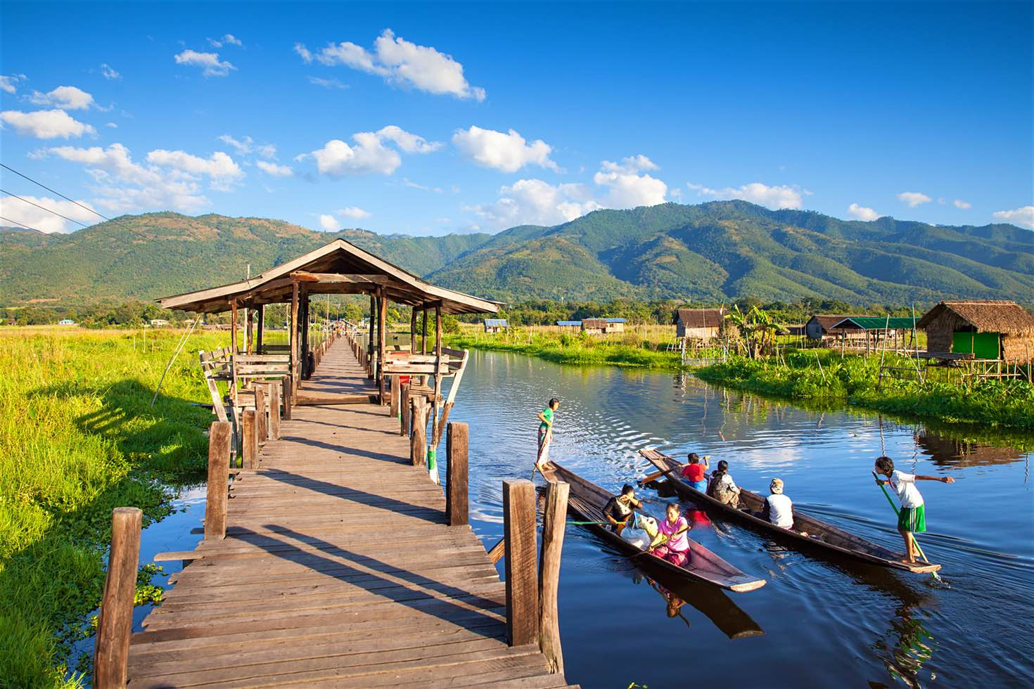 Boats on Inle Lake in Myanmar