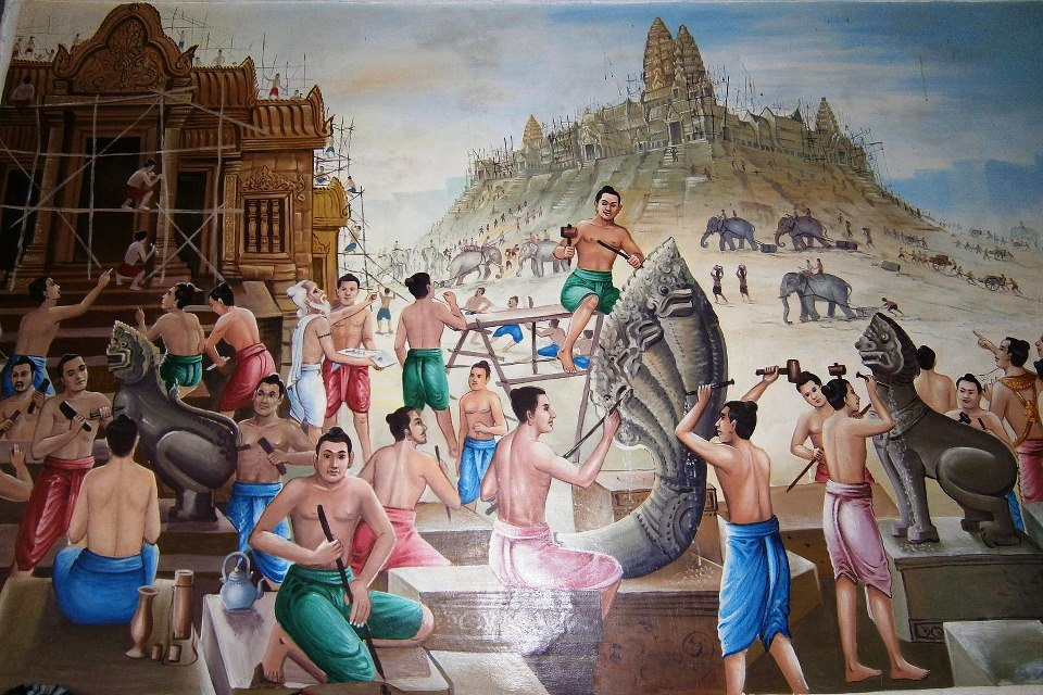 Drawing of illustration about how and who Angkor Wat built