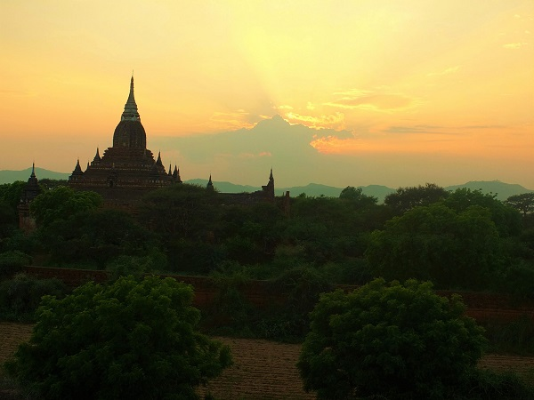 Sunset view from North Guni Temple in Bagan Myanmar