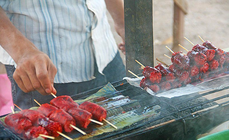 Beef sausages on the street of Siem Reap
