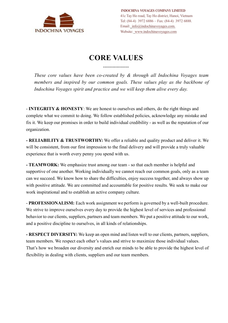 Indochina Voyages Core Values