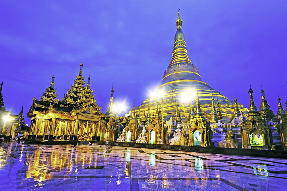 Shwedagon Temple has eight strands of hair of Buddha
