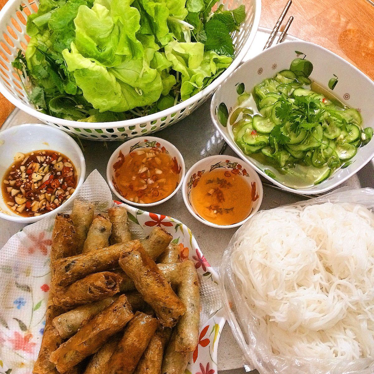 Bun with Fried Spring Roll in Hanoi