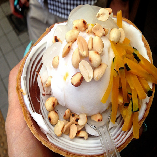 Thai Coconut Cream in Bangkok, best known for its ice cream, is sold at Chatuchak weekend market