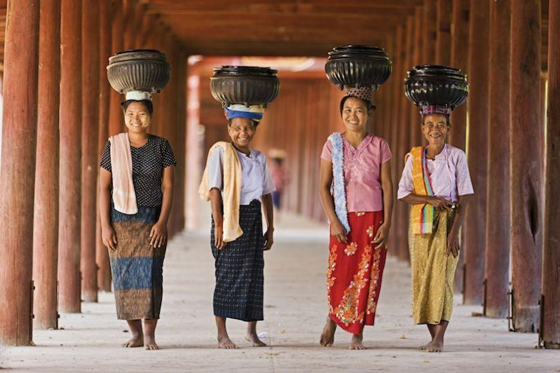Burmese women are in their traditional htamein