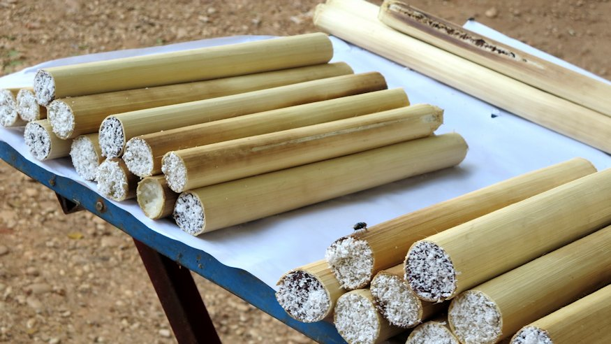 Traditionally, sticky rice is cooked in bamboo pipes