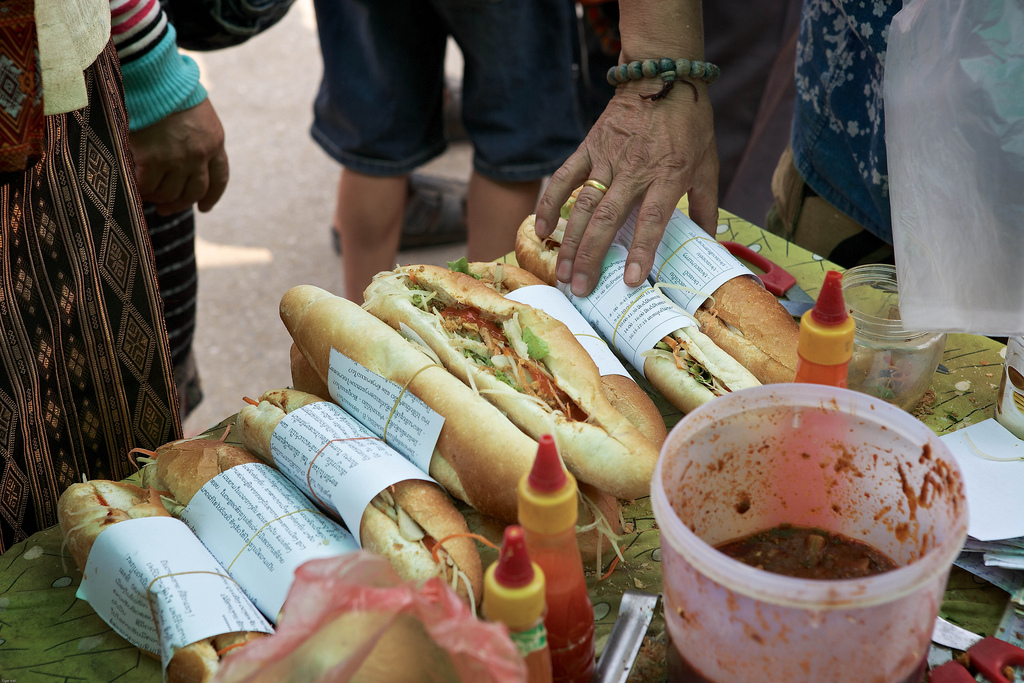 Baguettes are commonly found on many streets in Laos