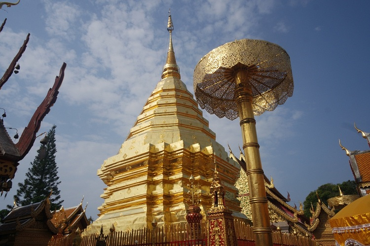 Beautiful Doi Suthep Stupa in the morning