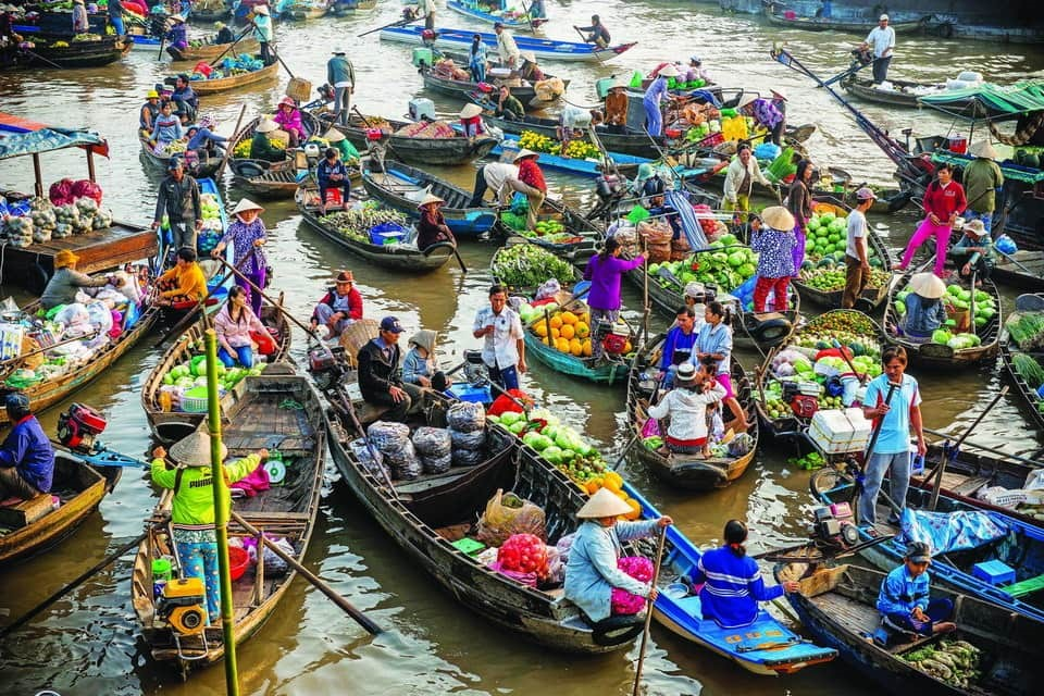 The floating market on Mekong Delta