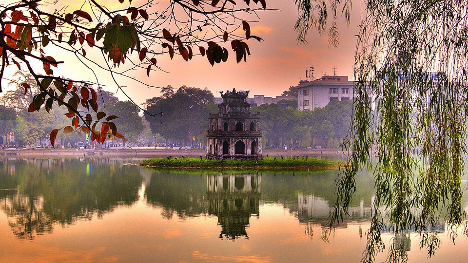 The turtle tower on Sword Lake-symbol of Hanoi