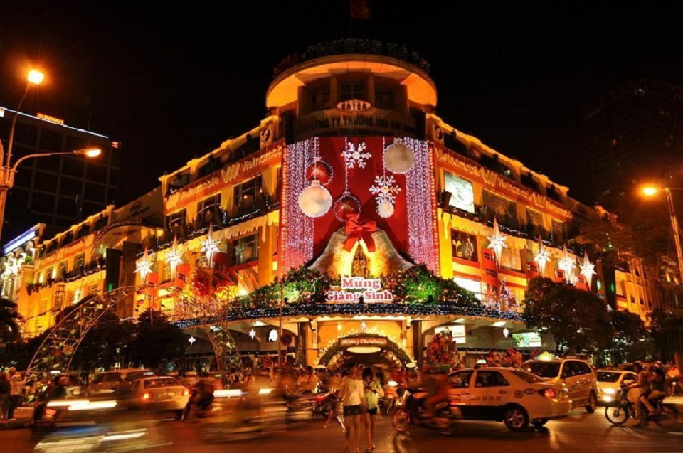 Streets in big cities are sparkly decorated for Christmas visual