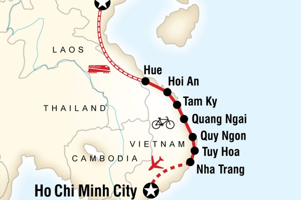 The distance from Hoi An to Nha Trang is about 500 km