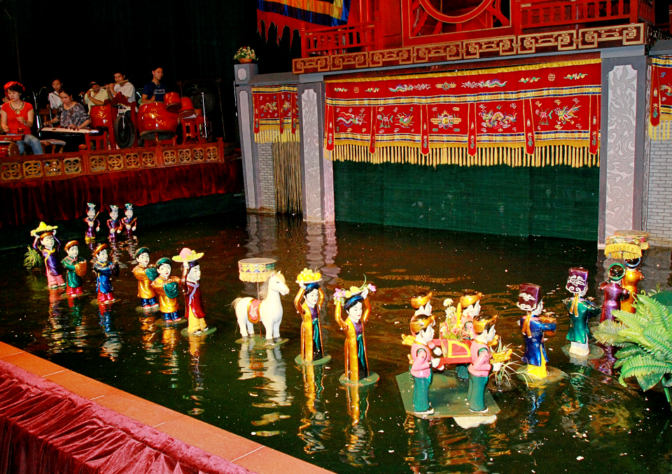 One of the typical scenes in water puppet show in Hanoi