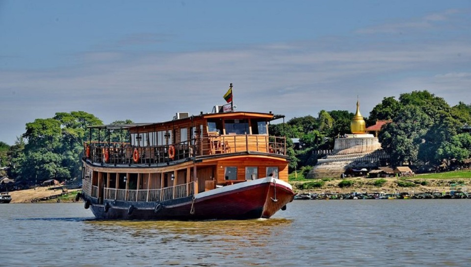 Board a modern slow boat between Bagan & Mandalay
