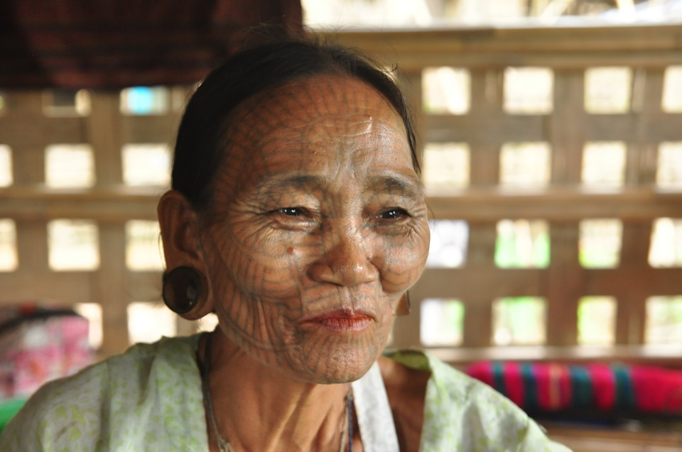 The facial tattoo ladies in Myanmar
