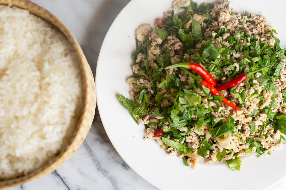 Laos larb and sticky rice