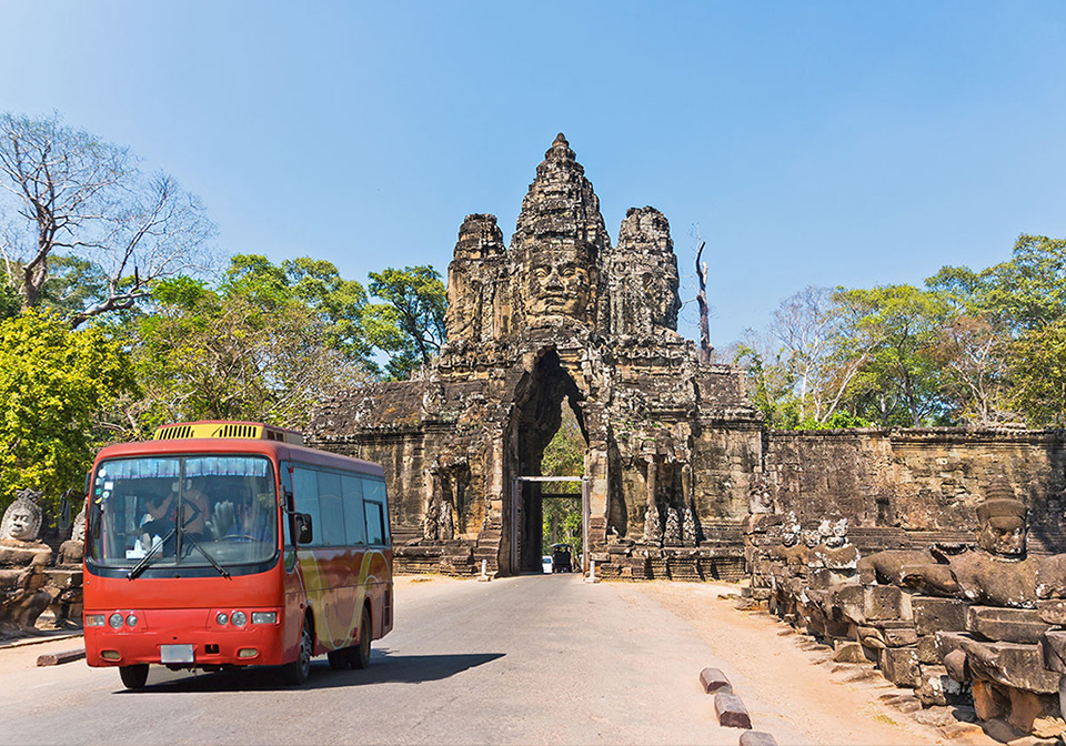 Traveling by bus in Cambodia